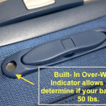 avoid costly overweight bag charges on your next flight with the built-in Delsey overweight indicator built into their Helium X'Pert and Hyperlite series spinner suiter trolley luggage