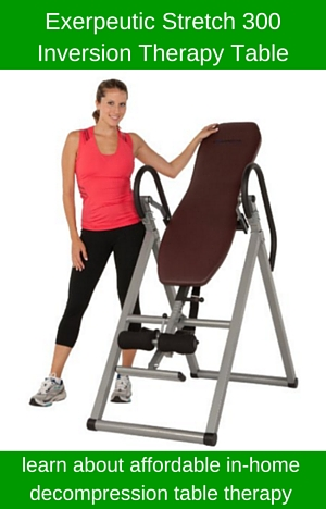 Read our Exerpeutic Stretch 300 Inversion Table Review to learn more about inversion decompression therapy