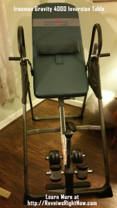 Ironman Gravity 4000 Inversion table with wide stable steel frame support and 350 lb weight capacity